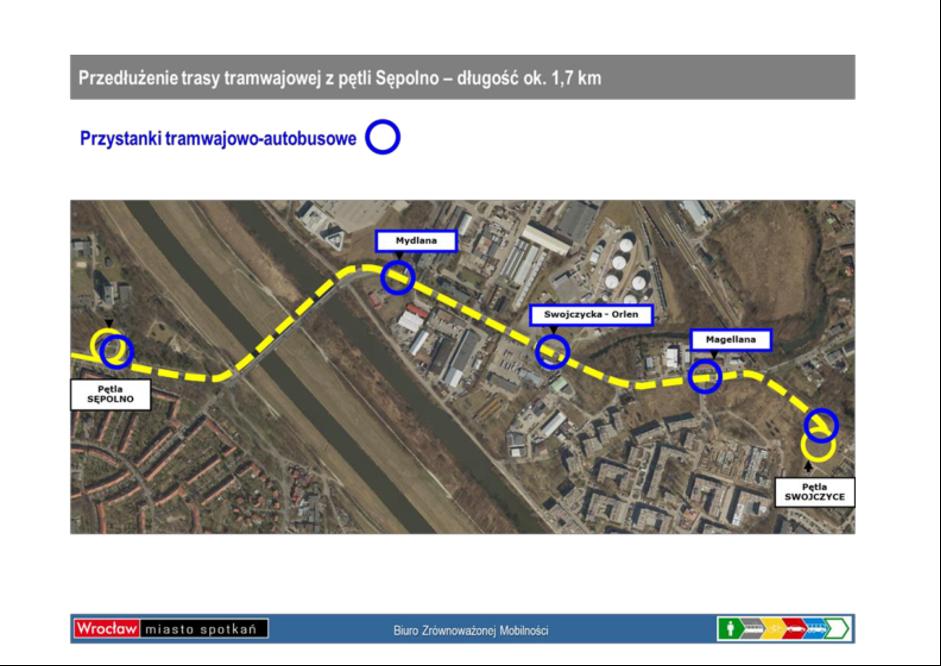 Plan przedłużenia trasy tramwajowej z pętli Sępolno do pętli Swojczyce